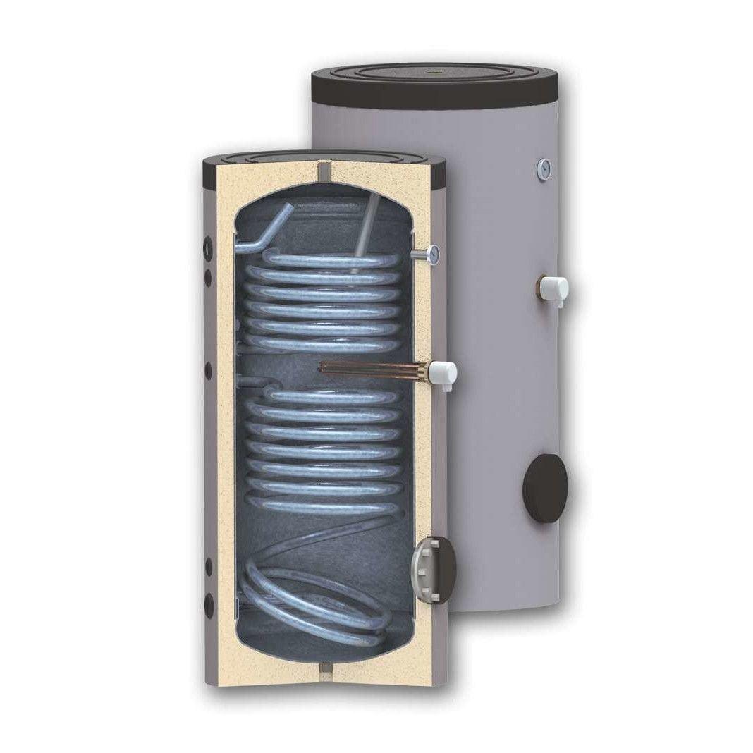 Boiler 150 litri cu 2 serpentine SUNSYSTEM SON 150, pentru centrala termica si solar, montaj pe sol, izolatie termica, manta de protectie , flansa de vizitare, emailat cu titan